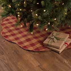 Burgundy Check Christmas Tree Skirt - 48 inch