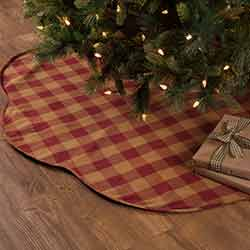 Burgundy Check Christmas Tree Skirt - 60 inch