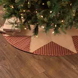 Burgundy Check Star Christmas Tree Skirt - 48 inch