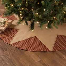 Burgundy Check Star Christmas Tree Skirt - 55 inch