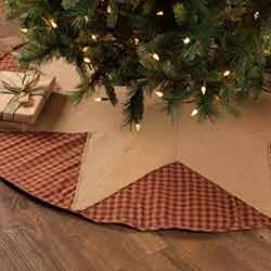 Burgundy Check Star Christmas Tree Skirt - 60 inch