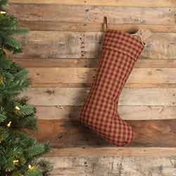Burgundy Check Christmas Stocking