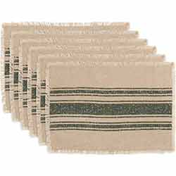 Vintage Burlap Stripe Green Placemats (Set of 6)