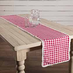 Emmie Red White Check 72 inch Table Runner