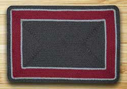 Graphite & Burgundy Braided Jute Rug - 20 x 30 inch (OVAL)