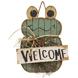 Lath Welcome Frog Hanger