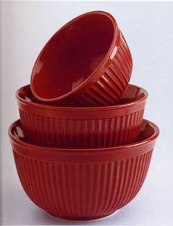 Fluted Red Mixing Bowl