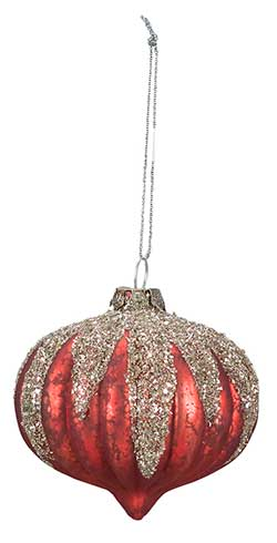Snow Cap Glass Ornament - Red