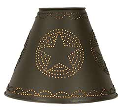 Star Punched Tin Lamp Shade - Rustic Brown