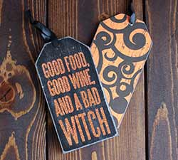 Primitives By Kathy Bad Witch Ornament or Bottle Tag