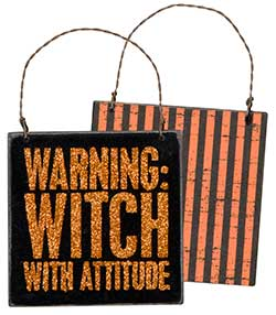 Witch Warning Sign Ornament