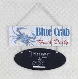 Wood Blue Crab Chalk Board