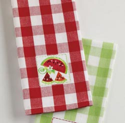 Watermelons and Ants Embroidered Dishtowel