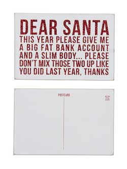 Dear Santa Wooden Postcard