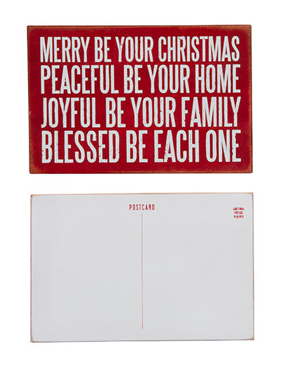Merry Be Wooden Postcard