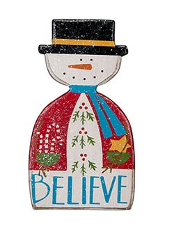 Believe Snowman Ornament
