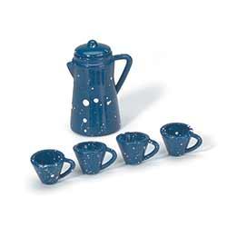 Blue Coffee Pot & Cups (5 Piece Set)
