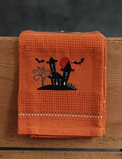 Haunted House Embroidered Dishtowel