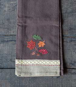 Leaves Embroidered Dishtowel