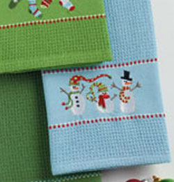 Winter Snowmen Embroidered Dishtowel