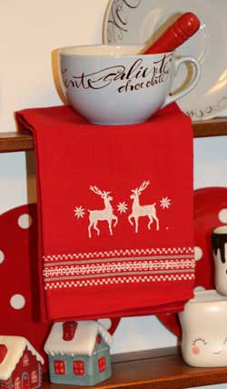 White Stags Embroidered Dishtowel