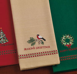 Season Greeting Bullfinch Dishtowel