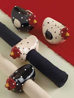 Dotty Hen Napkin Rings (Set of 2)