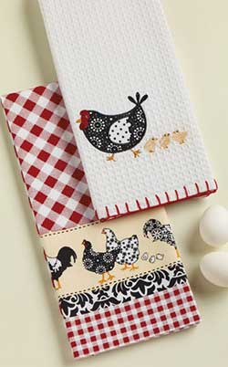 Hens & Chicks Embellished Dishtowel