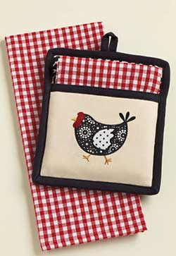 Hen Pot Holder & Dishtowel Set