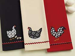 Hen & Chicks Black Embroidered Dishtowel