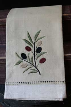 Olive Branch Embroidered Dishtowel