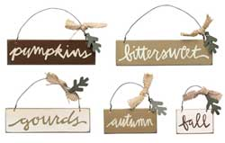 Fall Sign Ornaments (Set of 5)