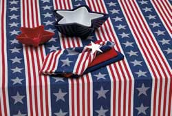 Stars & Stripes Jacquard Tablecloth, 60 x 84 inch