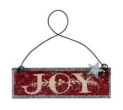 Joy Tin Ornament - Red