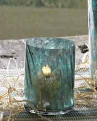 Aqua Mercury Glass Votive