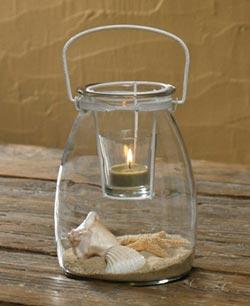 Jar with Votive Holder - White