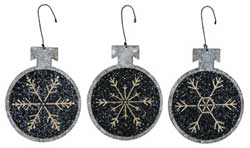 Small Snowflake Tin Ball Ornaments (Set of 3)