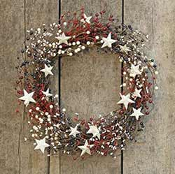 Patriotic Berry Wreath with Stars