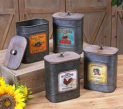 Country Farmhouse Metal Kitchen Canisters (Set of 4)