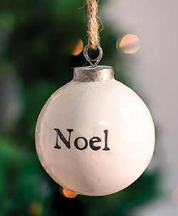Noel White Ceramic Ornament