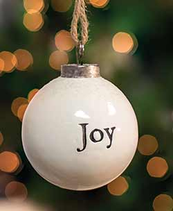 Joy White Ceramic Ornament