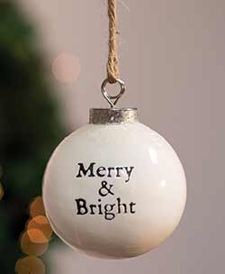Merry & Bright White Ceramic Ornament