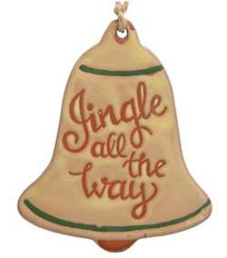Jingle Primitive Ceramic Bell Ornament