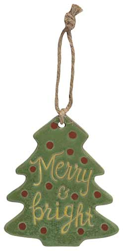 Merry Primitive Ceramic Tree Ornament