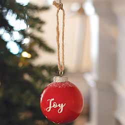 Joy Red Ceramic Ornament