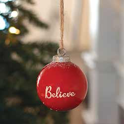 Believe Red Ceramic Ornament