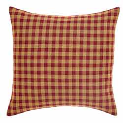 Burgundy Check Fabric Throw Pillow