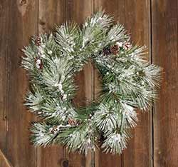 Flocked Pine 18 inch Wreath with Pine Cones