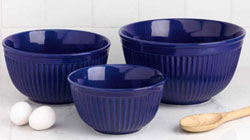 Blue Fluted Mixing Bowls (Set of 3)