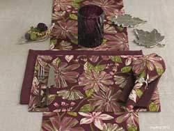 Plum Flora Tablerunner - 48 inches
